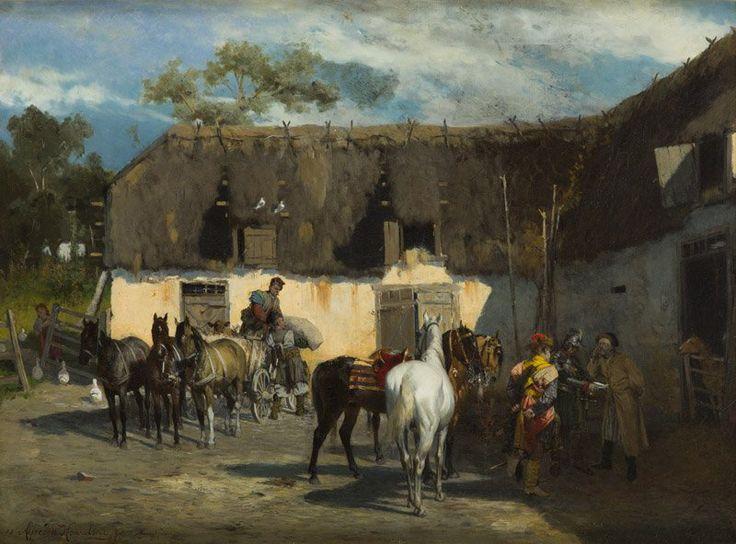 """Alfred Wierusz-Kowalski (1849-1915) 🇵🇱🎨    """"Rekwizycja"""", 1875"""