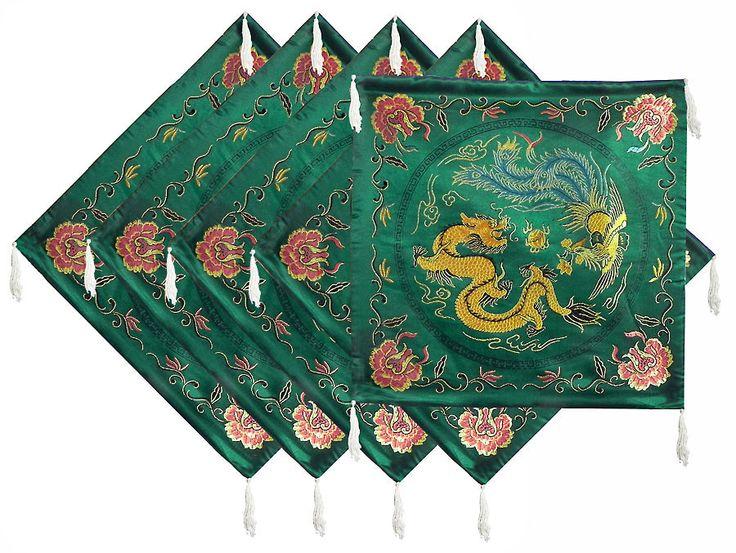 Five Pieces Dark Green Satin Silk Cushion Covers Depicting Chinese Dragon and Bird (Satin Silk)