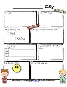 Daily Behavior Report for Preschool | Preschool Daily Notes To Parents