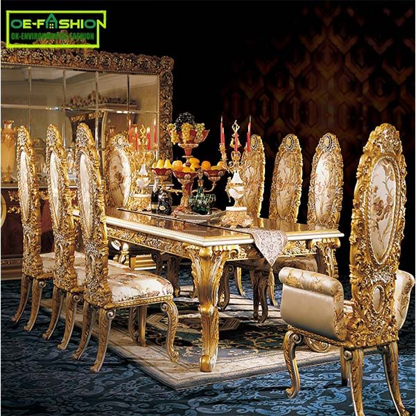 Custom Italy Luxury Gold Wood Carving Dining Table Set Furniture