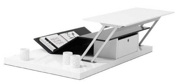 OCCA functional coffee table with storage , white lacquered/black glass