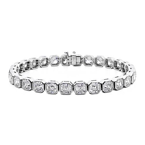 19 Carat Asscher Diamond Tennis Bracelet F - VS