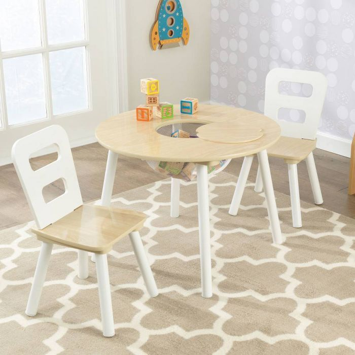 Round Table And 2 Chair Set White Natural Kidkraft Round Table And Chairs Table And Chair Sets Kids Table Chair Set Kidkraft table and chairs white