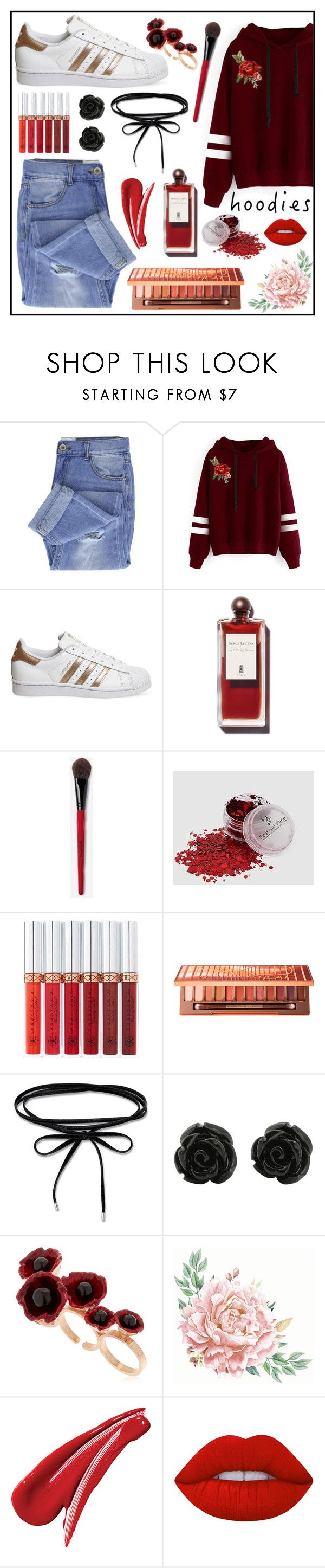 """""""Roses Gold & Hoodies"""" by shaneen-sinnamon ❤ liked on Polyvore featuring Taya, WithChic, adidas, Anastasia Beverly Hills, Urban Decay, Futuro Remoto, Lime Crime and Hoodies"""