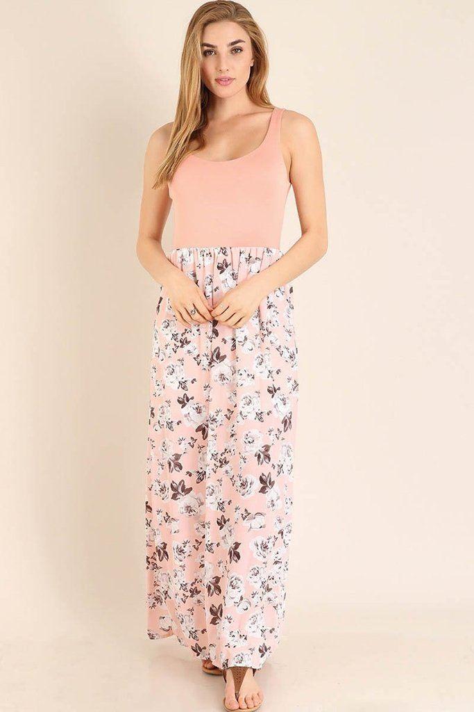 b421f1e0faa Turn On The Charm Peach Floral Print Maxi Dress
