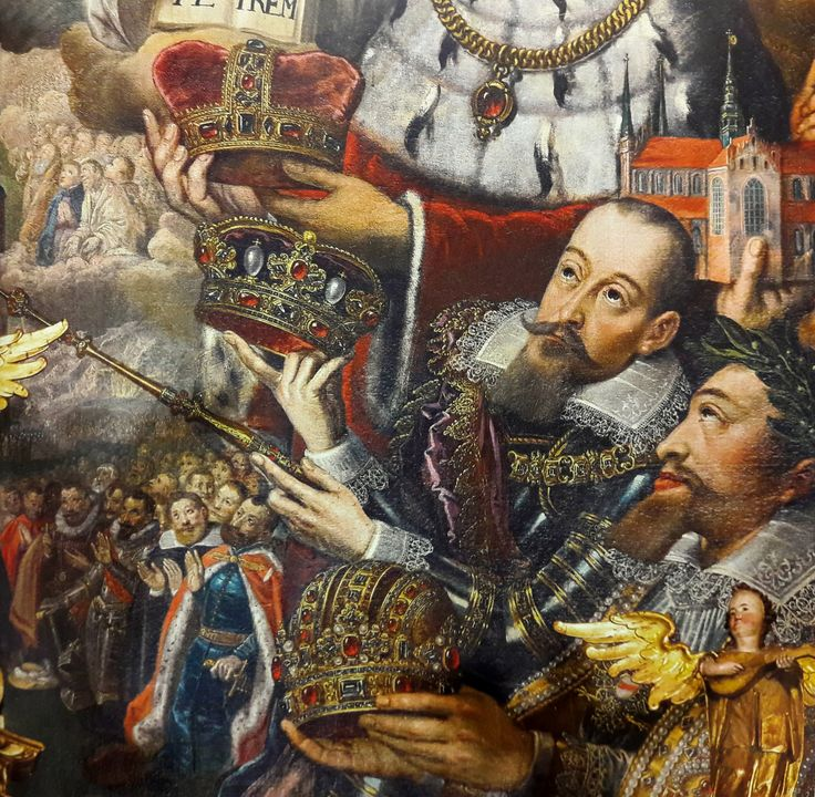 King Sigismund III Vasa depicted as donor with his courtiers, fragment of altar paining with Coronation of the Virgin Mary by  Herman Han from the main alatar of the Pelplin Cathedral, created between 1623-1624. The King visited the Pelplin Monastery during his journey to Gdańsk in 1623