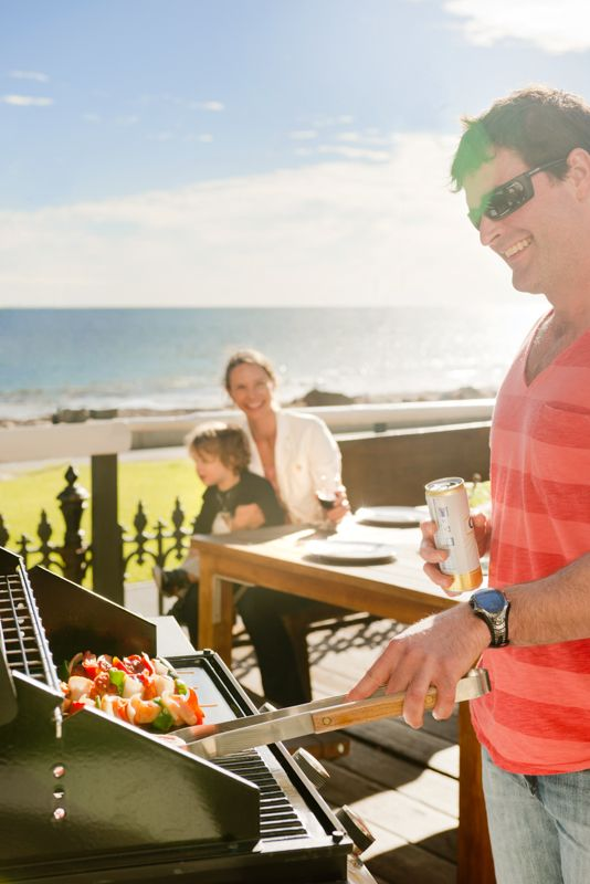 #sunny Glenelg beach is the spot to be for a bbq! You can cook up a storm on the front deck of our 3 bedroom apartment, The Beach House,  at #seawallapartments