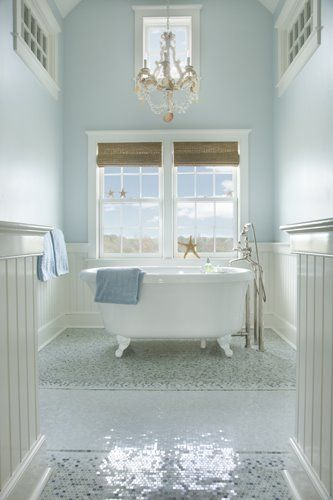 Beach house bathroom. Bead board walls, light blue wall paint, small floor
