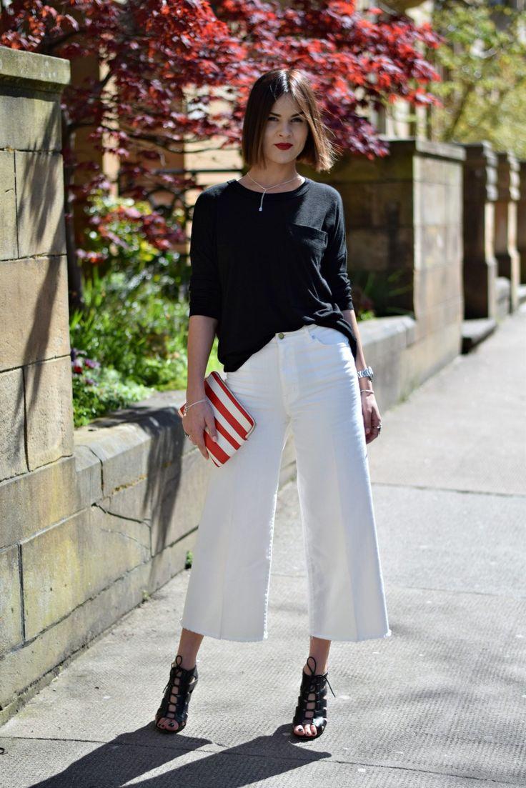 H&M Trend White Denim Culottes… « UK Fashion Blogger ...