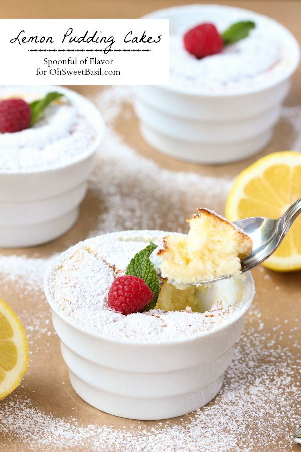 Lemon Pudding Cakes - lemon flavor baked into a light and delicate treat! Recipe by @Spoonful of Flavor | Ashley on ohsweetbasil.com