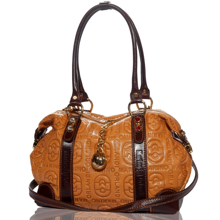 Amazon.com: Marino Orlandi Italian Designer Camel Monogram Leather Swarovski Large Satchel Bag: Shoes