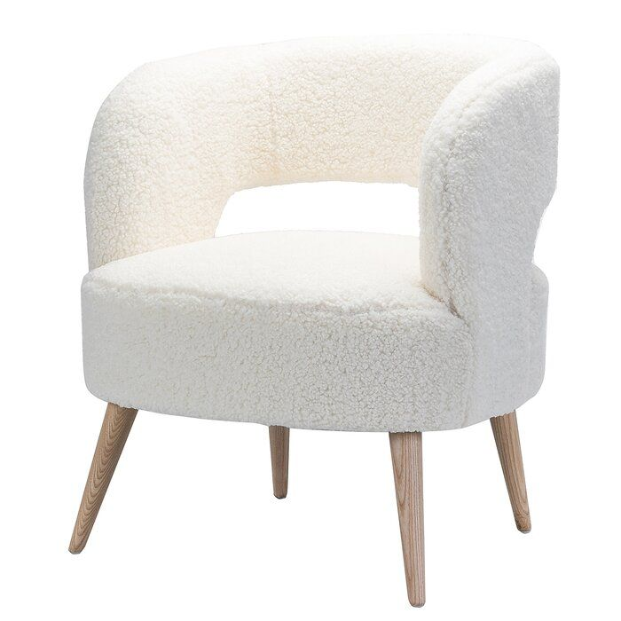 Staki Lambswool Sherpa Upholstered Barrel Chair Barrel Chair Chair Stylish Chairs