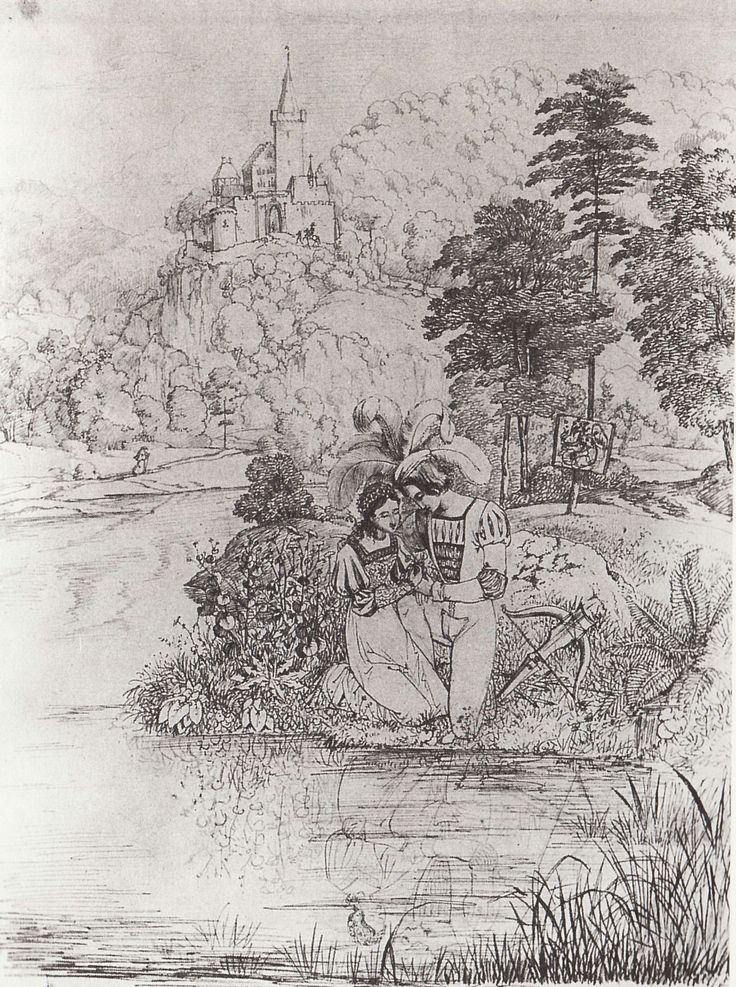 Carl Philipp Fohr, Otto und Bertha am Donaustrand, illustration (ca. 1815) from Der Zauberring of Friedrich de la Motte Fouqué