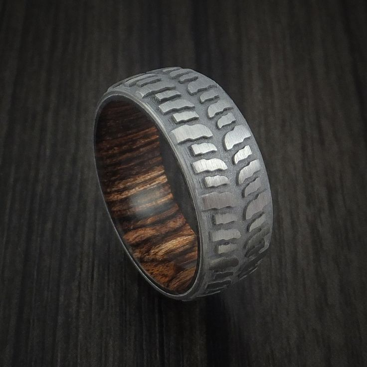 titanium mud tread tire ring with heritage brown hard wood sleeve custom made - Mud Tire Wedding Rings