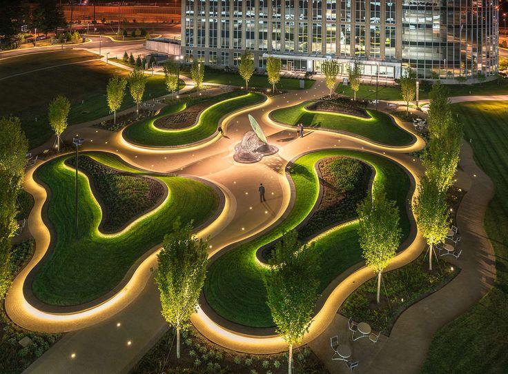 Organic landscape design receptor on architizer - How to design landscape lighting plan ...