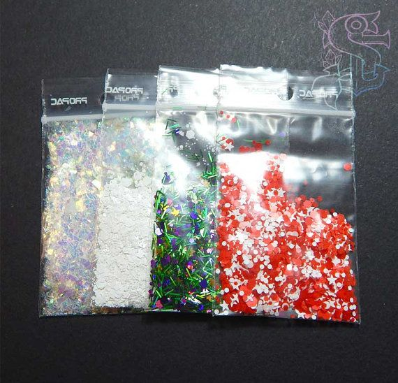Christmas glitter mix set 4x1gr for nail art, UV resin, nail gel, nail acrylic, rainbow, nail gel, nail acrylic, xmas
