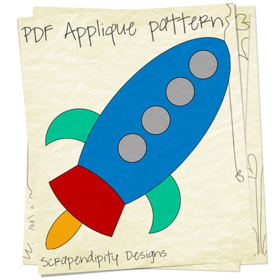 Rocketship Clothing Applique Template Space Iron On