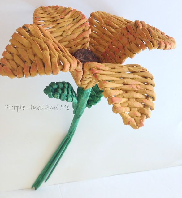 How to Make Recycled Newspaper Woven Flowers - a fun DIY craft idea