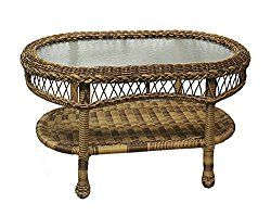 31″ Saratoga Oval Glass Top Cappuccino Resin Wicker Coffee Table