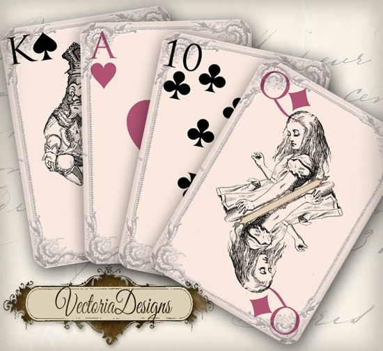 playing cards full deck by vectoriadesigns alice in wonderland playing