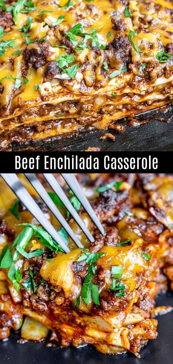 This Easy Cheesy Beef Enchilada Casserole Is Layered With Seasoned Ground Bee Beef Recipes For Dinner Enchilada Casserole Beef Ground Beef Recipes For Dinner
