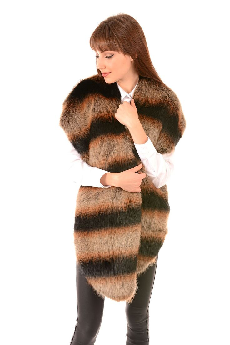 Faux Fur Striped Jayley Scarf | Faux Fur Wraps