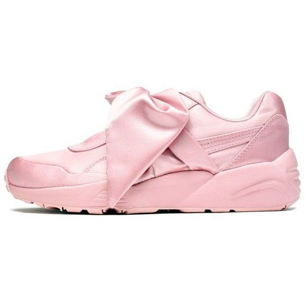 "Puma FENTY by Rihanna Women's ""Silver Pink"" Bow Sneaker [365054-01] ($160) ❤ liked on Polyvore featuring shoes, sneakers, puma, pink shoes, pink bow shoes, pink trainers, pink sneakers and silver trainers"
