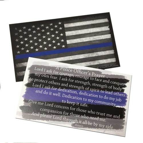 2 Packages of Police Officer's Prayer and The Thin Blue Line Subdued American Flag - Packaged 25 To A Pack Our Thin Blue Line Prayer Cards are an exclusive Brotherhood Product. It is an inexpensive gi