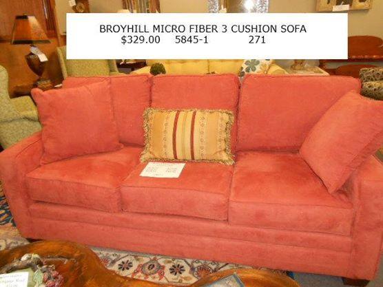 Broyhill Micro Fiber 3 Cushion Sofa $329.00  Www.facebook.com/eliterepeatfurniture