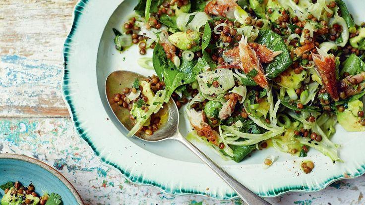 Georgina Hayden's herby puy lentils, greens and smoked mackerel
