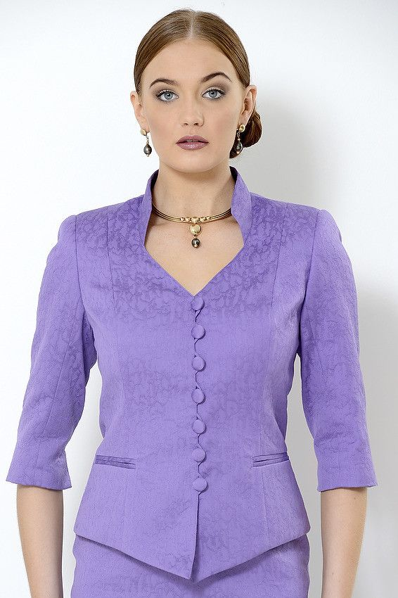 Dale Jacket Purple cotton jacquard lined jacket with 3/4 sleeves and stand up collar. Rollo closure and covered buttons.