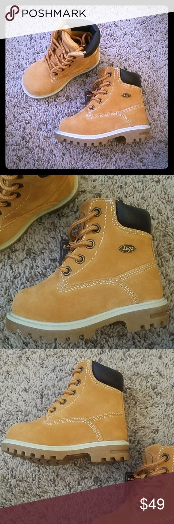 NEW • Lugz Boots • Kids Brand new.  No rips, stains, or tears.  Smoke free home.  Boys / Toddler Lugz Boots.  Golden wheat  / bark / cream color. Man made materials. Water resistant. Slip resistant. Similar to timberland style boots. Toddler size 6. Unisex for boys or girls. Lugz Shoes Boots