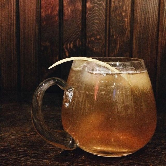 Southern Ginger 1 oz. wild turkey, .5 ginger of the indies - giffard liquer , 4oz. spiced apple kombucha, lemon zest Created by: Tim Siebert of Northern Quarter