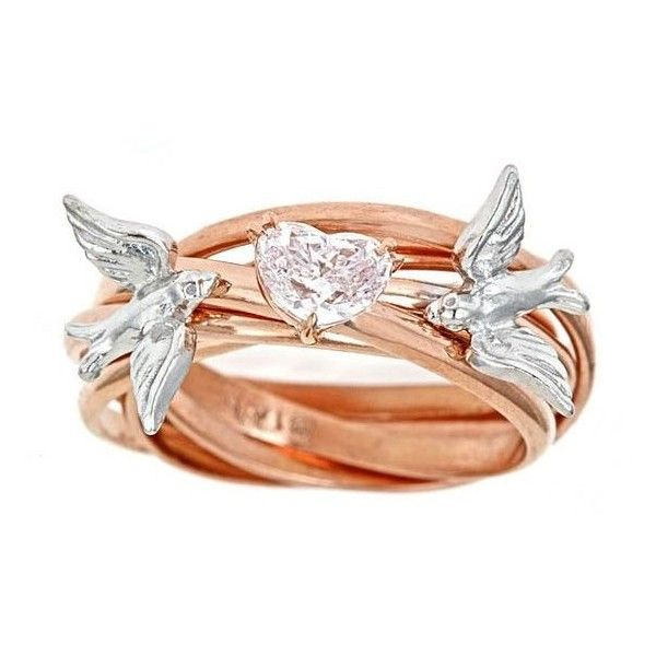 Custom Diamond Engagement Nest Ring SOLD GIA .54ct RARE Fancy Lt. Pink... ❤ liked on Polyvore featuring jewelry, rings, diamond band ring, diamond enhancer ring, heart ring, heart diamond ring and fancy diamond rings