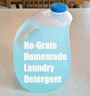 No-Grate No-Cook Homemade Laundry Soap (one gallon at a time).  3 Tbs Borax  3 Tbs Washing Soda  2 tps Dawn Dish soap:     Put these ingredients in a one gallon jug. Pour 4 cups boiling water into the jug. Swirl until ingredients are dissolved in the liquid. Let liquid cool. Then fill almost to the top with cold water. The bubbles will overflow out of the bottle. by keri