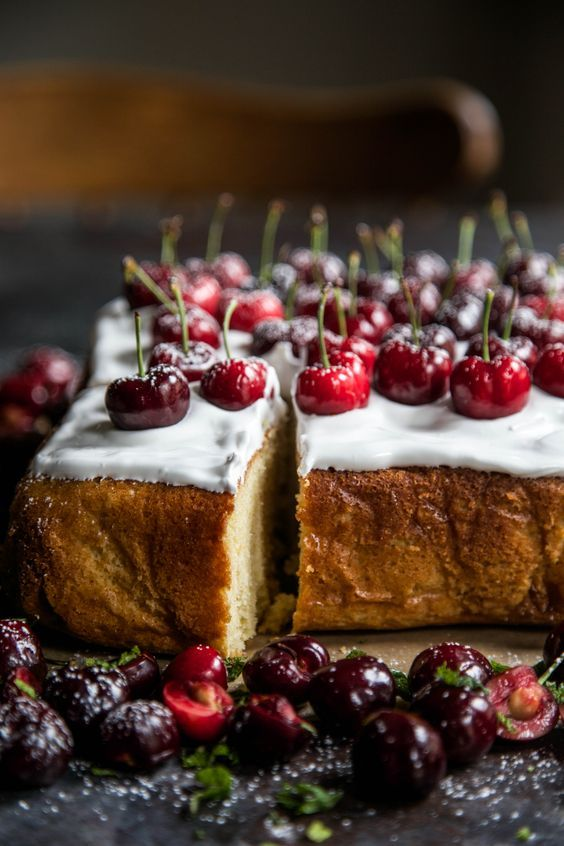 Cherry Cake with Bourbon Marshmallow Frosting
