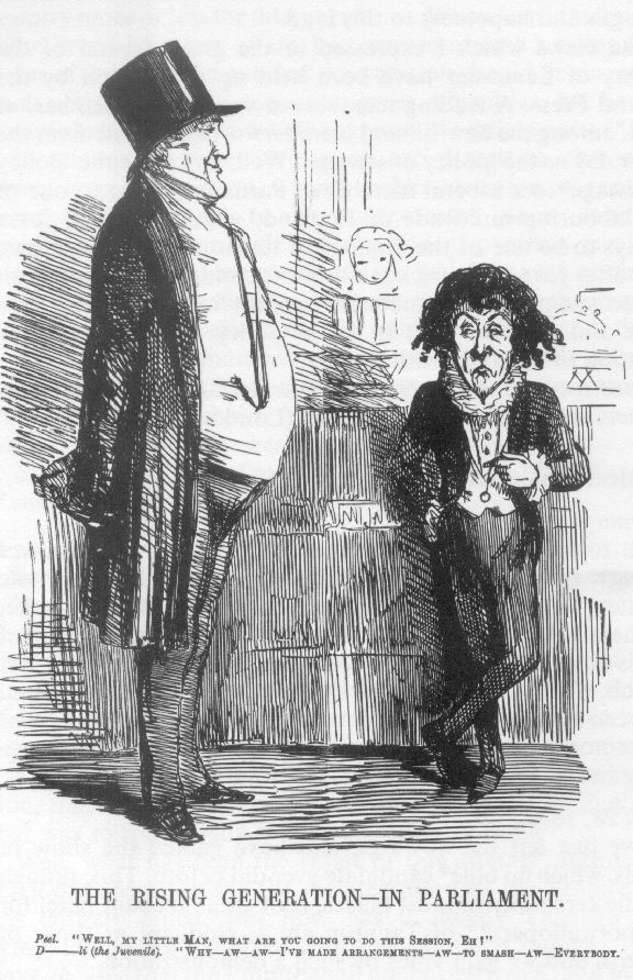 Punch cartoon, 1847. Disraeli had attacked Peel in 1846 over repeal of the corn laws