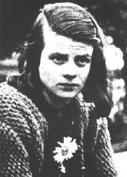 Sophia Scholl, German student part of the anti-Hitler group the White Rose. She was executed by guillotine with her brother Hans for distributing anti-war leaflets.