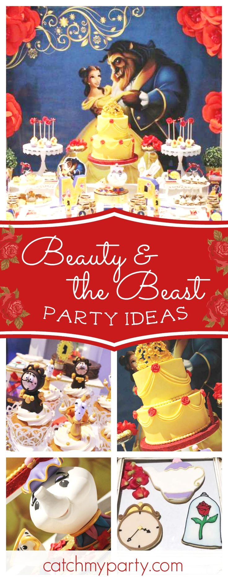 Don't miss this splendid Beauty and the Beast birthday party. The dessert table and decor area amazing!! See more party ideas and share yours at CatchMyParty.com