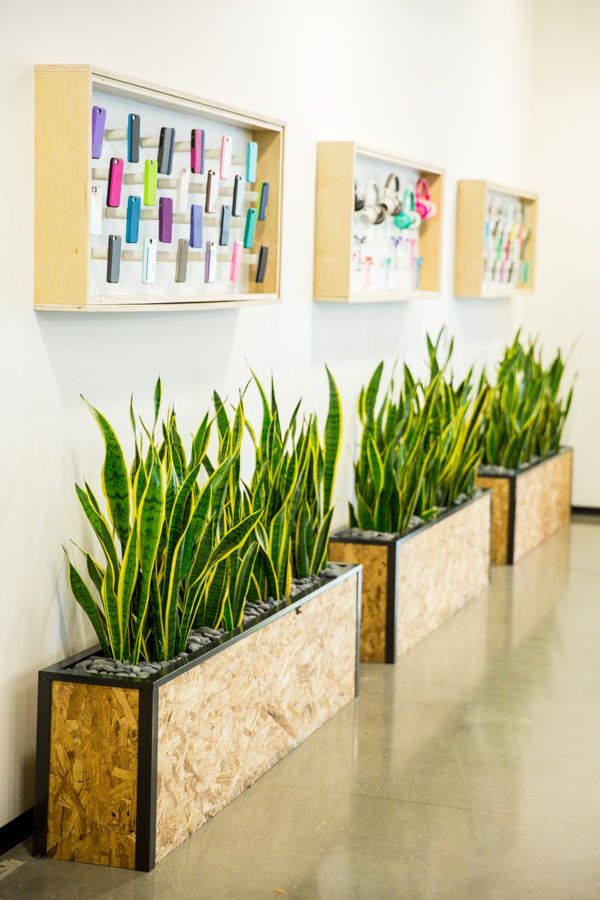 custom planter boxes for lobby of corporate office made by feruxe - Corporate Office Design Ideas