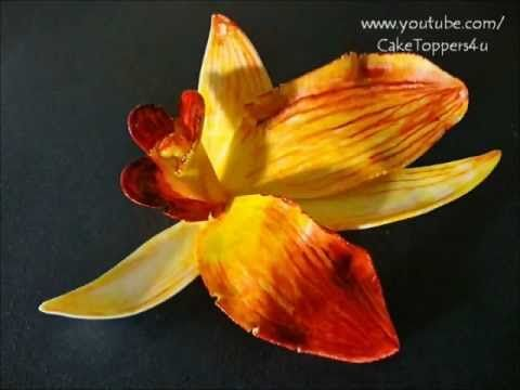 PART I How to make Orchid flower gum paste - with or without cutter, similiar with polymer clay