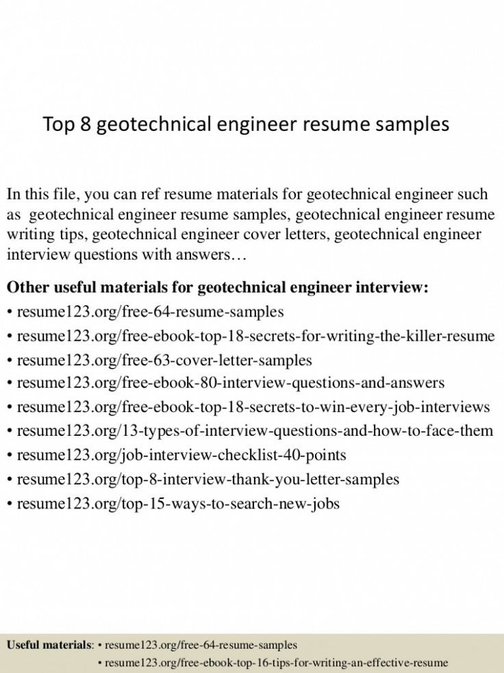 10 Geotechnical Engineer Resume in 2020 Resume examples