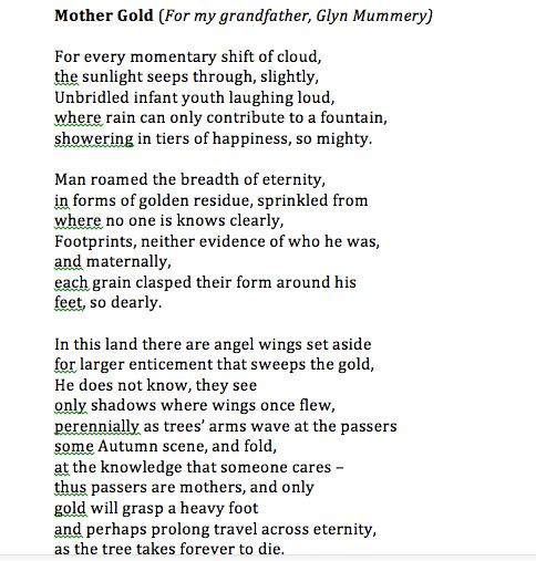 Poem Excerpt Mother Gold  Rebecca Mummery  Poet    Poem