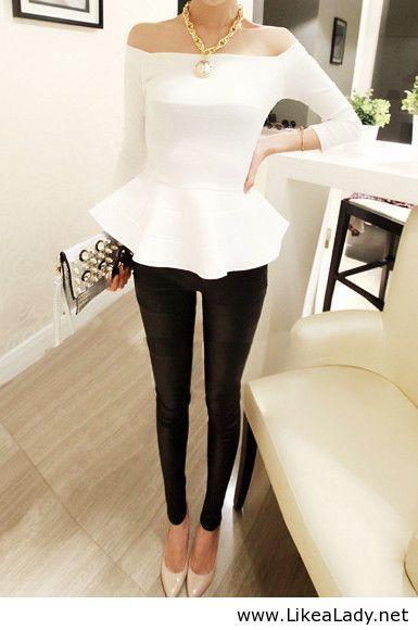 Black and white fashion - peplum top and skinnies