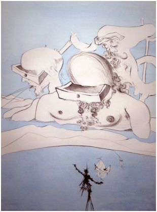 """Dali - Flung out like a fag-end by the big-wigs n 1974 Salvador Dali created a portfolio entitled """"After 50 Years of Surrealism"""".  This portfolio serves as a documentation of important moments and events in the artist's life, and can furthermore be seen as homage to Andre Bretón's Surrealist Manifesto, written 50 years earlier in 1924.  Bretón's manifesto proposed a radical and systematic revision of received values, and a revaluation of the unconscious as a source of all artistic…"""