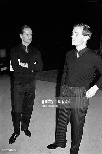 Florian Schneider and Ralf Hutter of Kraftwerk at a Kraftwerk promotional party for the 'Man Machine' record held in New York City on April 6 1978
