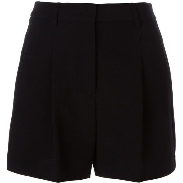 DKNY Tailored Shorts ($215) ❤ liked on Polyvore featuring shorts, black, dkny, dkny shorts and tailored shorts