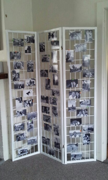 diy room divider photo board black n white pics with colour pop binder clips - Room Dividers Ideas