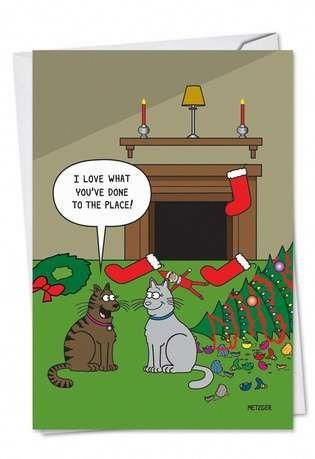Cat Christmas Decor Christmas Paper Card By Nobleworks # ...