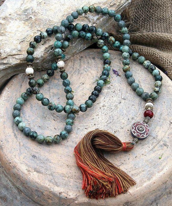 African turquoise gemstone mala necklace - look4treasures on Etsy